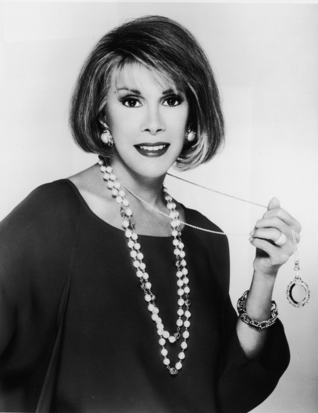 Promotional portrait of American comedian and actor Joan Rivers, 1980s.