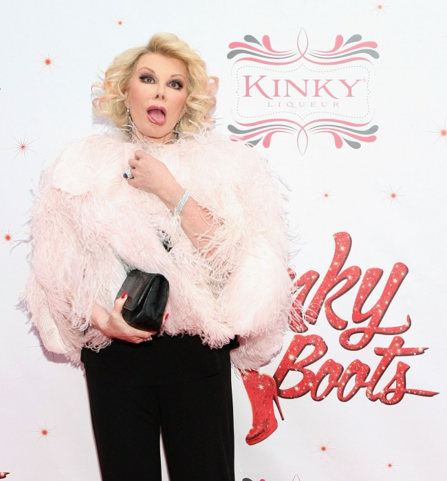 NEW YORK, NY - APRIL 04: Joan Rivers attends the Media Opening for Kinky Boots on Broadway, 'KinkyBway', at the Al Hirschfeld Theatre on April 4, 2013 in New York City.