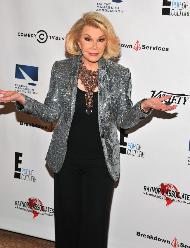 BEVERLY HILLS, CA - SEPTEMBER 19: TV personality Joan Rivers attends the 12th Annual Heller Awards at The Beverly Hilton Hotel on September 19, 2013 in Beverly Hills, California.