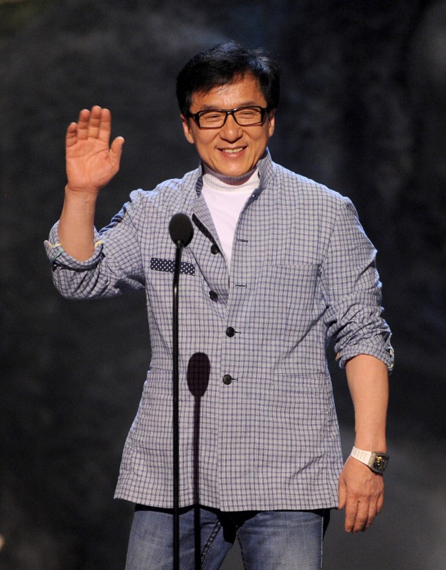 Caption:CULVER CITY, CA - JUNE 08: Actor Jackie Chan speaks onstage during Spike TV's Guys Choice 2013 at Sony Pictures Studios on June 8, 2013 in Culver City, California. (Photo by Kevin Winter/Getty Images for Spike TV)