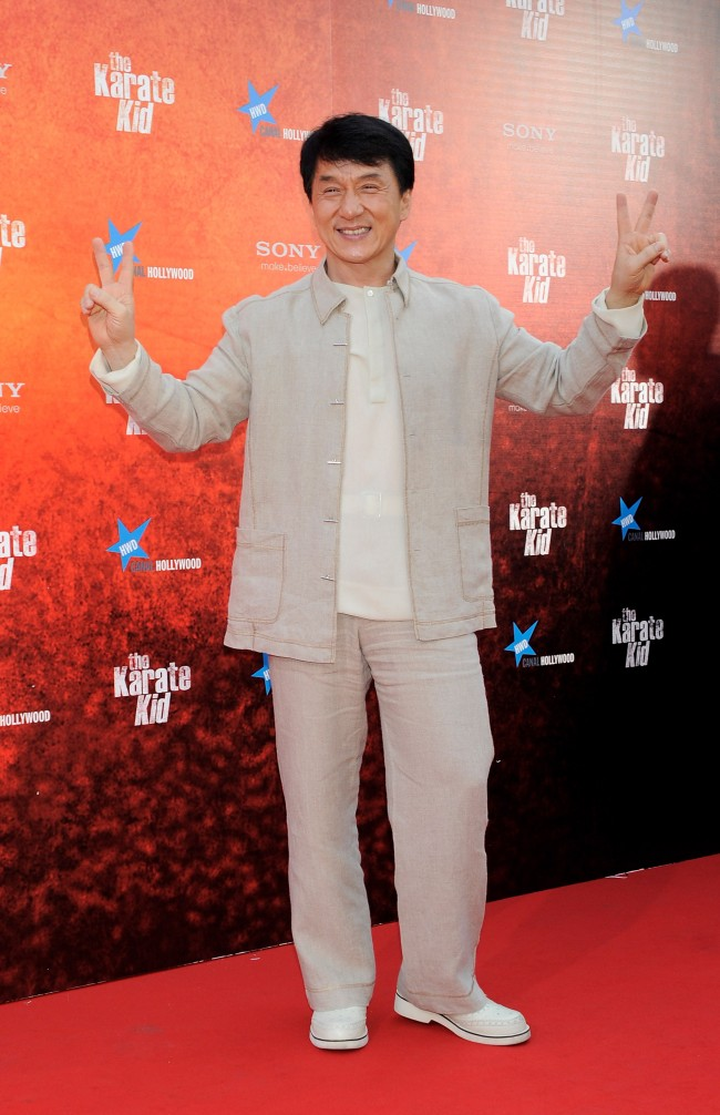 Caption:MADRID, SPAIN - JULY 21: Actor Jackie Chan attends 'The Karate Kid' premiere at Callao cinema on July 21, 2010 in Madrid, Spain. (Photo by Carlos Alvarez/Getty Images)