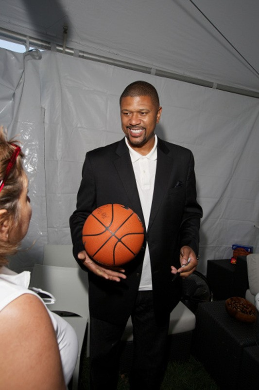 CHICAGO, IL - AUGUST 15: Former NBA player Jalen Rose attends Kyrie Irving, Jalen Rose, and Jalen Rose Leadership Academy Students Celebrate the Summer of Jeep at Navy Pier on August 15, 2014 in Chicago, Illinois