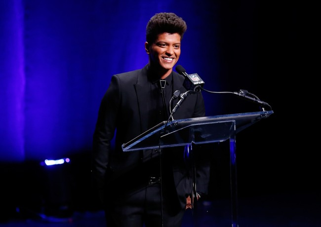 NEW YORK, NY - JANUARY 30: Singer Bruno Mars speaks during the Pepsi Super Bowl XLVIII Halftime Show Press Conference at the Rose Theater, Jazz at Lincoln Center on January 30, 2014 in New York City