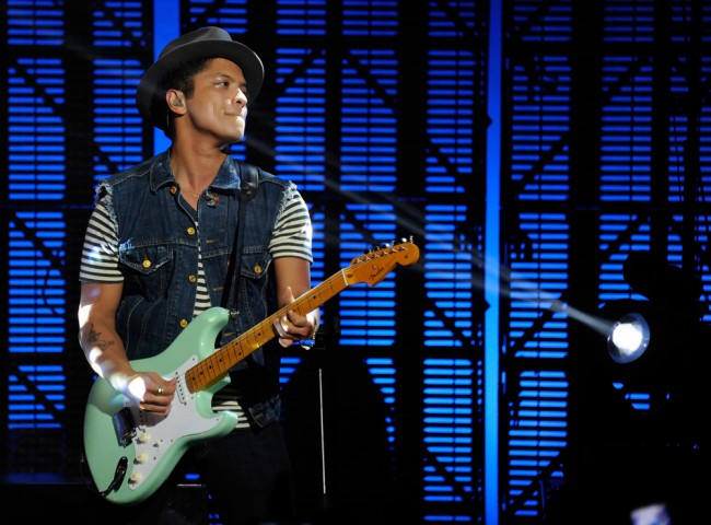 LAS VEGAS, NV - JUNE 16: Recording artist Bruno Mars performs during the Hooligans in Wondaland tour at The Pearl concert theater at the Palms Casino Resort June 16, 2011 in Las Vegas, Nevada