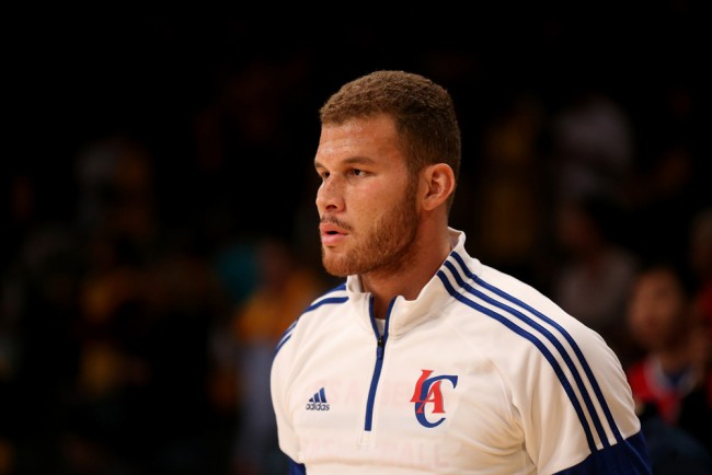 LOS ANGELES, CA - OCTOBER 31: Blake Griffin #32 of the Los Angeles Clippers stands on the court during warmups for the game against the Los Angeles Lakers at Staples Center on October 31, 2014 in Los Angeles, California. The Clippers won 118-111
