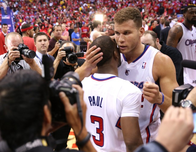 LOS ANGELES, CA - MAY 03: Blake Griffin #32 and Chris Paul #3 of the Los Angeles Clippers embrace after defeating the Golden State Warriors in Game Seven of the Western Conference Quarterfinals during the 2014 NBA Playoffs at Staples Center on May 3, 2014 in Los Angeles, California. The Clippers won 126-121 to win the series four games to three