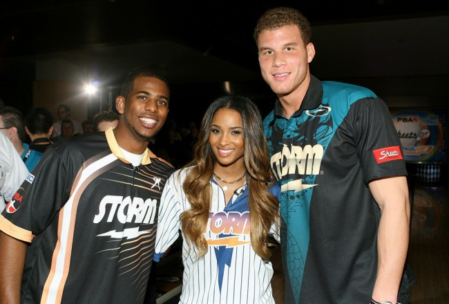 LOS ANGELES, CA - JANUARY 12: (L-R) Chris Paul, Ciara and Blake Griffin attend the PBA Chris Paul Celebrity Invitational Bowling Tournament at Lucky Strike Lanes at L.A. Live on January 12, 2012 in Los Angeles, California