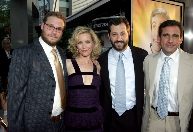 HOLLYWOOD - AUGUST 11: (L-R) Actor Seth Rogen, actress Leslie Mann, Director/producer/writer Judd Apatow and actor/writer/executive producer Steve Carell arrive at the premiere of Universal Studios 'The 40 Year-Old Virgin' at Arclight Hollywood on August 11, 2005 in Hollywood, California.