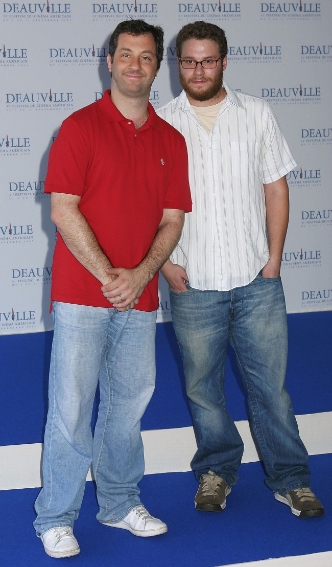 DEAUVILLE, FRANCE - SEPTEMBER 04: Producer Judd Apatow (L) and Actor Seth Rogen pose at the photocall for The 40-Year Old Virgin at the 31st Deauville Festival Of American Film on September 4, 2005 in Deauville, France.