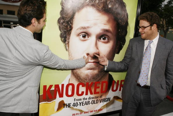 LOS ANGELES - MAY 21: Actor Paul Rudd (L) and actor/executive producer Seth Rogen pose at the premiere of Universal Pictures' 'Knocked Up' at the Mann's Village Theater on May 21, 2007 in Los Angeles, California.