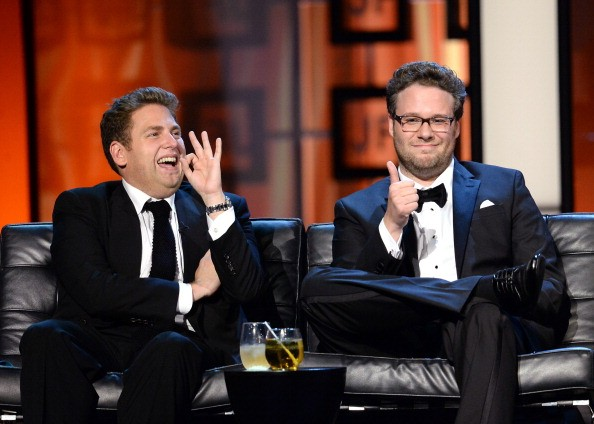 CULVER CITY, CA - AUGUST 25: Actor Jonah Hill (L) and roast master Seth Rogen onstage during The Comedy Central Roast of James Franco at Culver Studios on August 25, 2013 in Culver City, California. The Comedy Central Roast Of James Franco will air on September 2 at 10:00 p.m. ET/PT.
