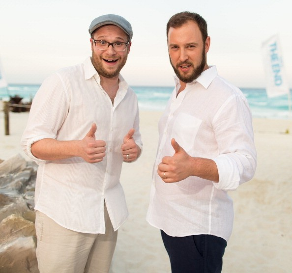 CANCUN, MEXICO - APRIL 21: Seth Rogen and Evan Goldberg attend the 'This Is The End' photo call at the 5th annual Summer of Sony at the Ritz Carlton Hotel on April 21, 2013 in Cancun, Mexico.