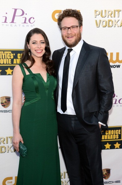 SANTA MONICA, CA - JANUARY 16: Actress Lauren Miller (L) and actor Seth Rogen attend the 19th Annual Critics' Choice Movie Awards at Barker Hangar on January 16, 2014 in Santa Monica, California.