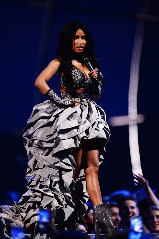 GLASGOW, SCOTLAND - NOVEMBER 09: Host Nicki Minaj on stage during the MTV EMA's 2014 at The Hydro on November 9, 2014 in Glasgow, Scotland.