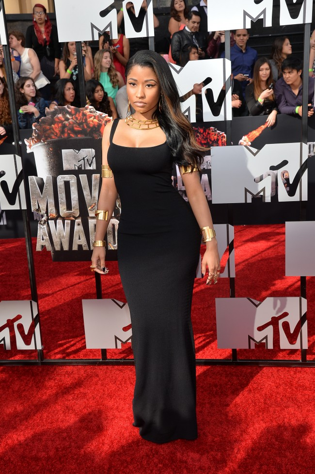 LOS ANGELES, CA - APRIL 13: Rapper Nicki Minaj attends the 2014 MTV Movie Awards at Nokia Theatre L.A. Live on April 13, 2014 in Los Angeles, California.