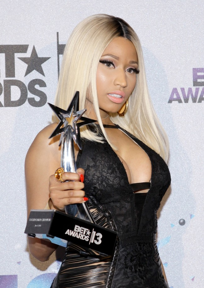 LOS ANGELES, CA - JUNE 30: Singer Nicki Minaj, winner of the Best Female Hip Hop Artist Award poses in the Backstage Winner's Room at Nokia Theatre L.A. Live on June 30, 2013 in Los Angeles, California.