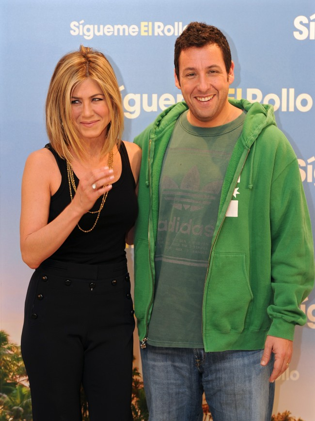 MADRID, SPAIN - FEBRUARY 22: Actress Jennifer Aniston (L) and actor Adam Sandler attend a photo call to promote their new movie 'Just go with it' on February 22, 2011 in Madrid, Spain.