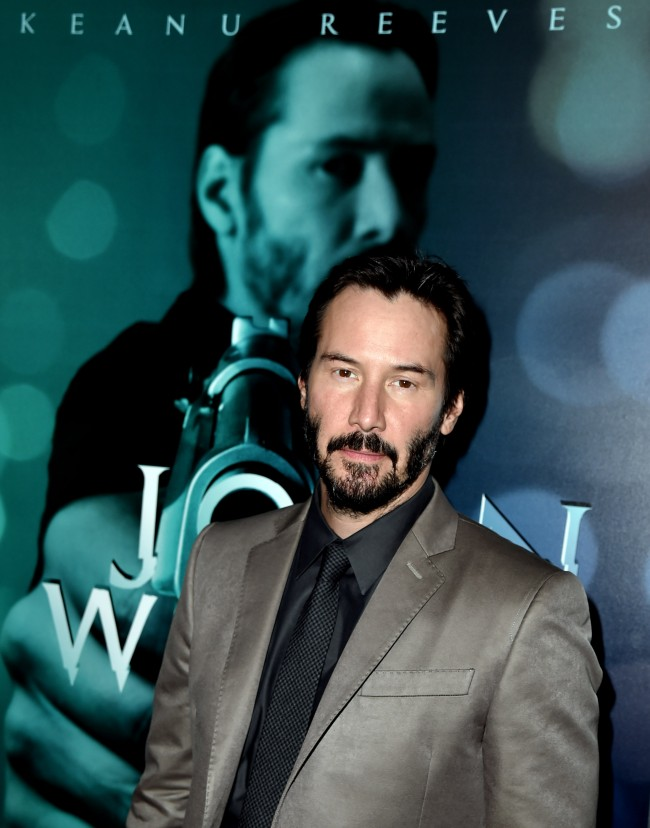LOS ANGELES, CA - OCTOBER 22: Actor Keanu Reeves arrives at a screening of Lionsgate Films' 'John Wick' at the Arclight Theatre on October 22, 2014 in Los Angeles, California.