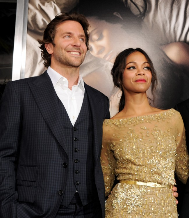 LOS ANGELES, CA - SEPTEMBER 04: Actors Bradley Cooper (L) and Zoe Saldana arrive at the premiere of CBS Films' 'The Words' at the Arclight Theatre on September 4, 2012 in Los Angeles, California.