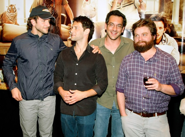 LAS VEGAS - MAY 15: (L-R) Actors Bradley Cooper and Justin Bartha, director Todd Phillips and actor/comedian Zach Galifianakis attend a charity poker tournament at Caesars Palace hosted by Warner Bros. Pictures featuring cast members from the film 'The Hangover' to benefit Opportunity Village May 15, 2009 in Las Vegas, Nevada. Caesars Palace served as the location for many scenes of the comedy, which opens nationwide in the United States on June 5.