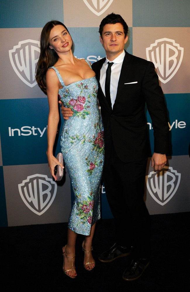 BEVERLY HILLS, CA - JANUARY 15: Model Miranda Kerr and Orlando Bloom arrive at 13th Annual Warner Bros. And InStyle Golden Globe Awards After Party at The Beverly Hilton hotel on January 15, 2012 in Beverly Hills, California.