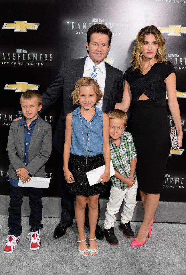 NEW YORK, NY - JUNE 25: (L-R) Brendan Wahlberg, Mark Wahlberg, Ella Rae Wahlberg, Rhea Durham, and Michael Wahlberg attend the New York Premiere of 'Transformers: Age Of Extinction' at the Ziegfeld Theatre on June 25, 2014 in New York City.