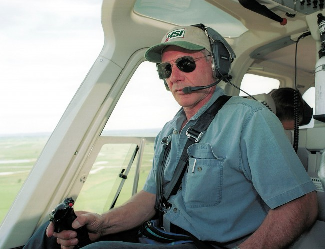 Actor Harrison Ford Flies His Helicopter July 10, 2001 Near Jackson, Wy. Ford Located And Rescued Missing 13-Year-Old Boy Scout Cody Clawson.