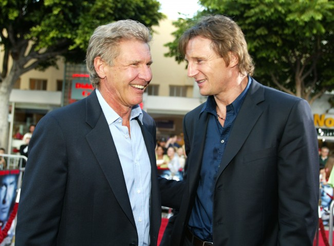 Harrison Ford and Liam Neeson at the premiere of 'K-19: The Widowmaker' at the Village Theatre in Westwood, Ca. Monday, July 15, 2002.