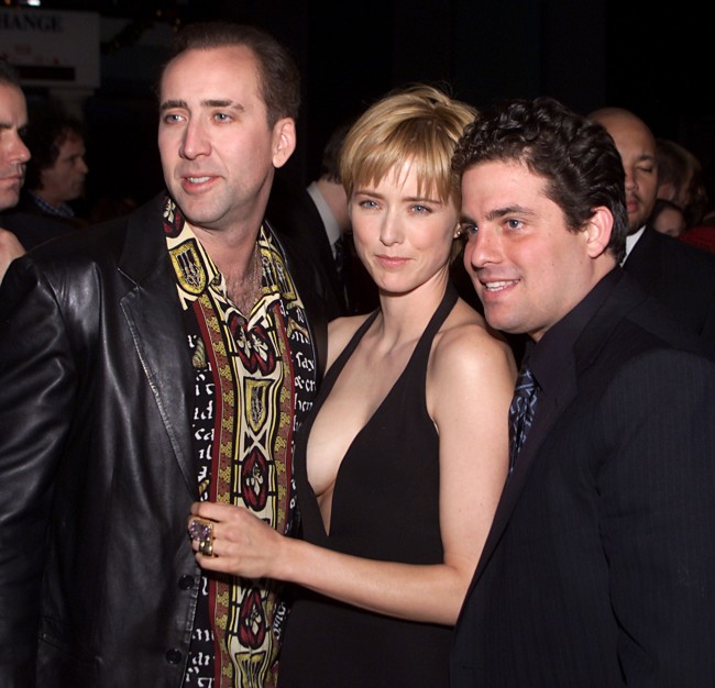 Nicolas Cage , Tea Leoni and director Brett Ratner at the premiere of 'The Family Man' at the Chinese Theater in Los Angeles, Ca. 12/12/00.