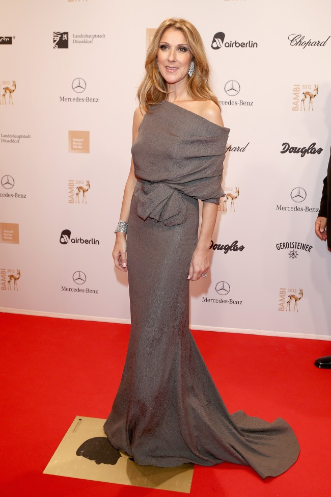 DUESSELDORF, GERMANY - NOVEMBER 22: Celine Dion attends 'BAMBI Awards 2012' at the Stadthalle Duesseldorf on November 22, 2012 in Duesseldorf, Germany.
