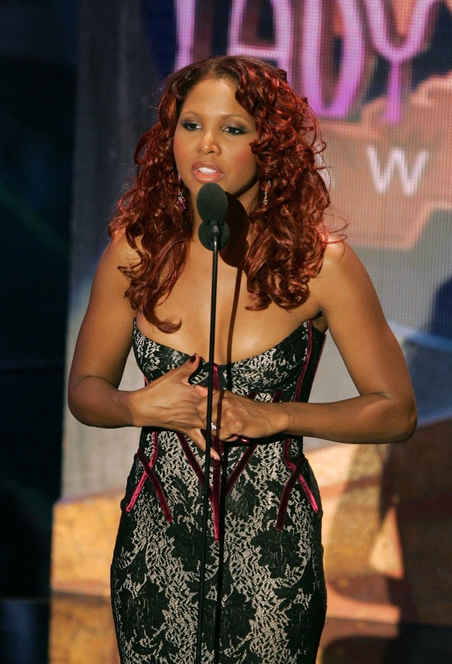 PASADENA, CA - SEPTEMBER 07: Singer Toni Braxton is seen onstage at the 10th Annual Soul Train Lady of Soul Awards held at the Pasadena Civic Auditorium on September 7, 2005 in Pasadena, California.