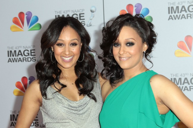 LOS ANGELES, CA - FEBRUARY 17: Actresses Tamera Mowry-Housley (L) and Tia Mowry arrive at the 43rd NAACP Image Awards held at The Shrine Auditorium on February 17, 2012 in Los Angeles, California.