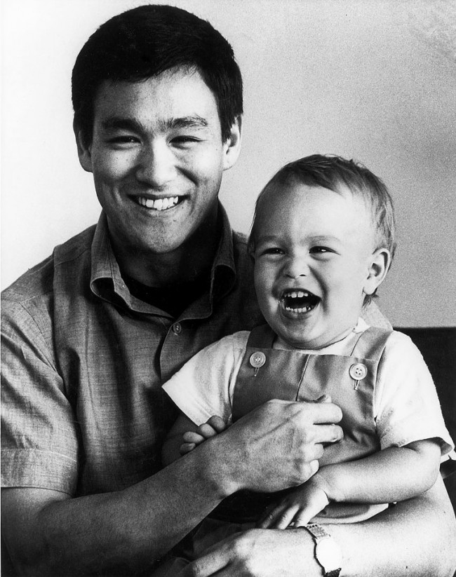 Bruce Lee with his son Brandon in 1966