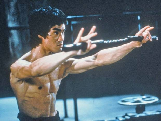 A file photo of Bruce Lee during a fight scene.