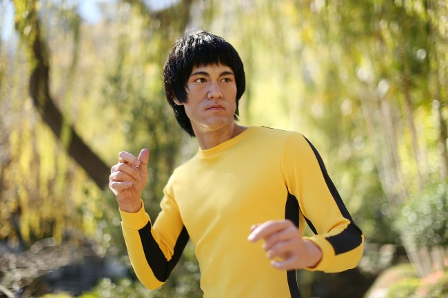 SYDNEY, AUSTRALIA - AUGUST 13: A wax figure of Chinese actor, Bruce Lee is seen at the Chinese Garden of Friendship on August 13, 2013 in Sydney, Australia. The Bruce Lee wax figure will be on display at Madame Tussauds Sydney to mark the 40th anniversary of the actor's death.