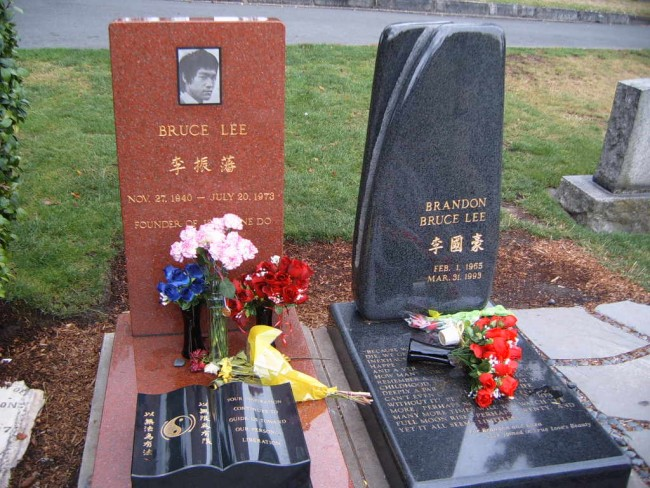 Bruce Lee is buried next to his son Brandon in Lakeview Cemetery, Seattle.