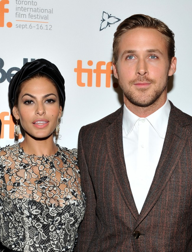 TORONTO, ON - SEPTEMBER 07: Actors Eva Mendes and Ryan Gosling attend 'The Place Beyond The Pines' premiere during the 2012 Toronto International Film Festival at Princess of Wales Theatre on September 7, 2012 in Toronto, Canada.