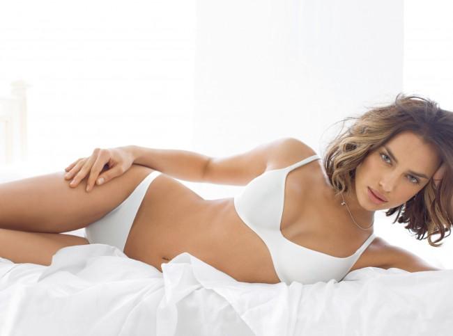 Irina Shayak wearing intimissimi lingerie
