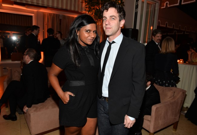 WEST HOLLYWOOD, CA - JANUARY 18: Actors Mindy Kaling (L) and B.J. Novak attend the Weinstein Company & Netflix's 2014 SAG after party in partnership with Laura Mercier at Sunset Tower on January 18, 2014 in West Hollywood, California.