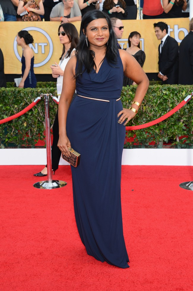 LOS ANGELES, CA - JANUARY 18: Actress Mindy Kaling attends the 20th Annual Screen Actors Guild Awards at The Shrine Auditorium on January 18, 2014 in Los Angeles, California.