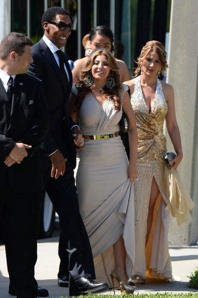 Larsa Pippen and Scottie Pippen are sighted at Michael Jordan and Yvette Prieto wedding Bethesda-by-the Sea church on April 27, 2013 in Palm Beach, Florida