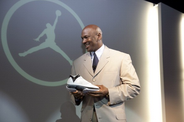 Michael Jordan addresses the media during the launch of the Air Jordan 2009 at The Event Space on January 8, 2009 in New York City