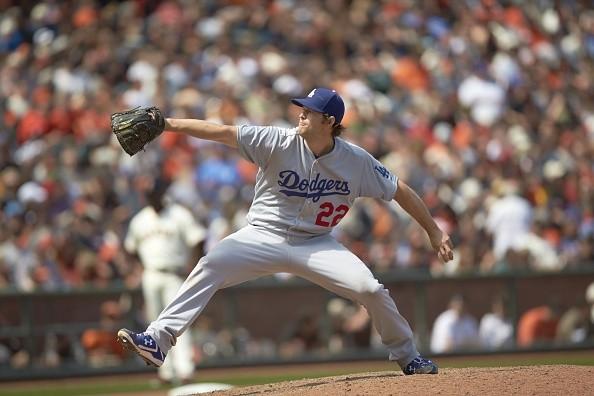 Baseball: Los Angeles Dodgers Clayton Kershaw (22) in action, pitching vs San Francisco Giants at AT&T Park. San Francisco.