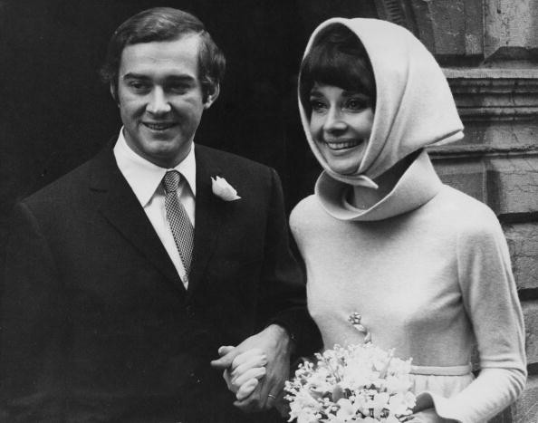 Belgian-born actress Audrey Hepburn (1929 - 1993) with her second husband, Italian psychiatrist Andrea Dotti (1938 - 2007), after their wedding, Morges, Switzerland, 18th January 1969.