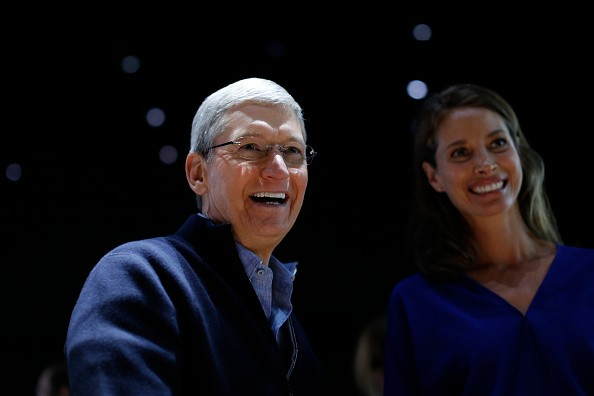 Apple CEO Tim Cook and model Christy Turlington Burns smiles as they appear at the Apple Watch demonstration area during an Apple special event at the Yerba Buena Center for the Arts on March 9, 2015 in San Francisco, California. Apple Inc. is expected to unveil more details on the much anticipated Apple Watch, the tech giant's entry into the rapidly growing wearable technology segment.