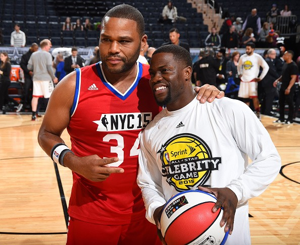 Anthony Anderson and Kevin Hart pose for a photo during the Sprint NBA All-Star Celebrity Game as part of 2015 All-Star Weekend at Madison Square Garden on February 13, 2015 in New York, New York.
