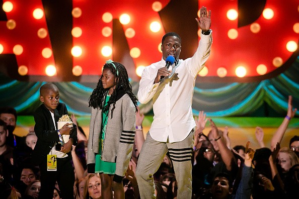 Hendrix Hart, Heaven Hart and Kevin Hart onstage at the 2015 MTV Movie Awards - Show at Nokia Theatre L.A. Live on April 12, 2015 in Los Angeles, California.