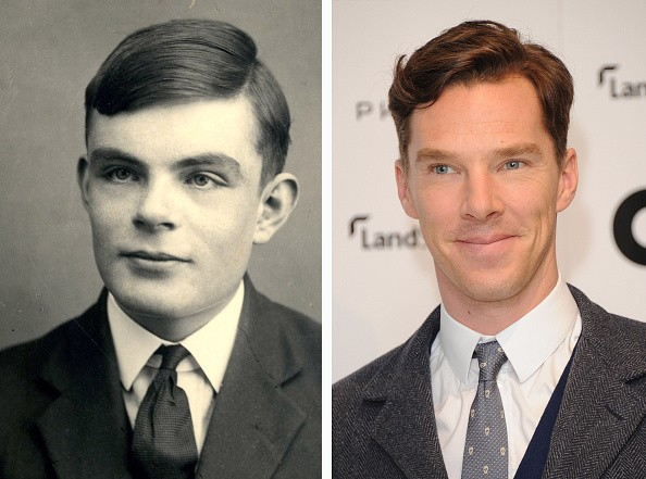 n this composite image a comparison has been made between Alan Turing (L) and actor Benedict Cumberbatch.