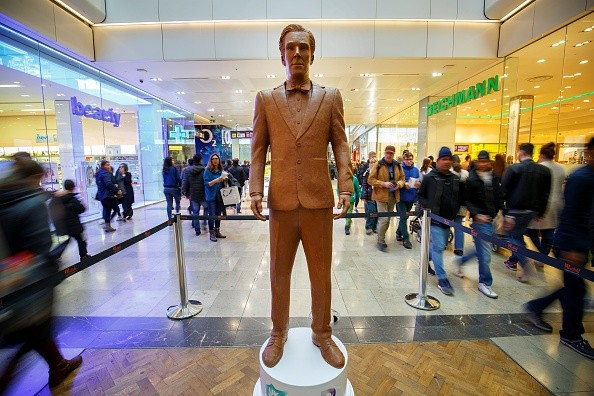 A life-size sculpture of Benedict Cumberbatch made of chocolate to promote the launch of 'UKTV' is on display at Westfield Stratford City shopping centre in London, England on April 3, 2015. It took 250 hours to complete the chocolate sculpture and it weighs 40kg.