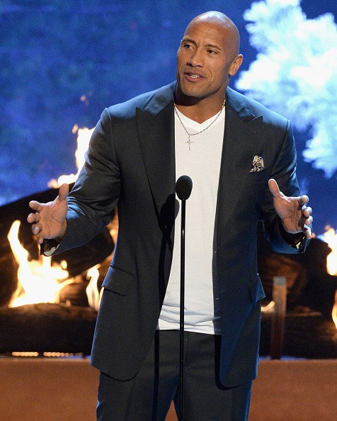 Actor Dwayne Johnson speaks onstage during Spike TV's Guys Choice 2015 at Sony Pictures Studios on June 6, 2015 in Culver City, California.